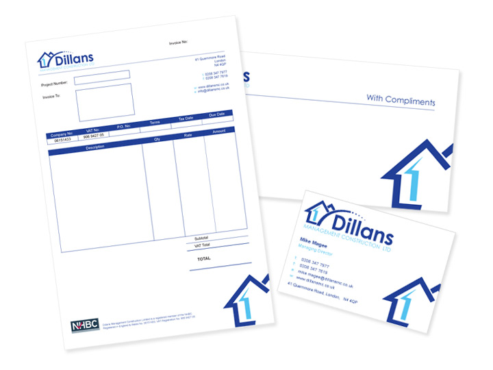 Dillans - Invoice Sheet, Compliment Slip and Business Card