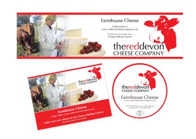 Red Devon Cheese Company - External Banner, Postcard and Cheese Label